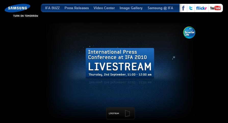 Samsung'un IFA 2010 basın toplantısı internetten canlı yayınlanıyor