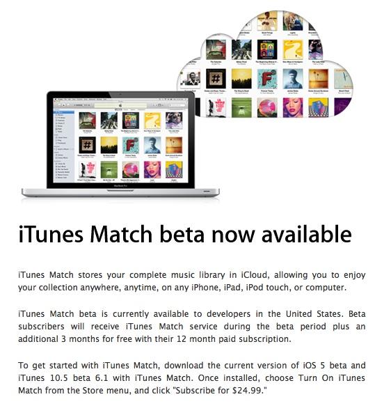 iTunes Match beta yazılım geliştiricilerinin beğenisine sunuldu