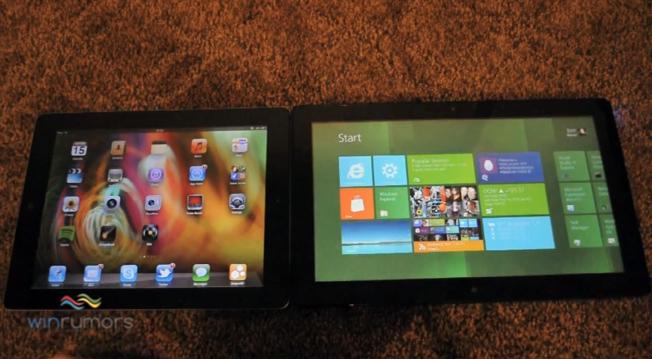 Microsoft Windows 8 tablet prototipi iOS 5 yüklü iPad 2 ile karşı karşıya – Video