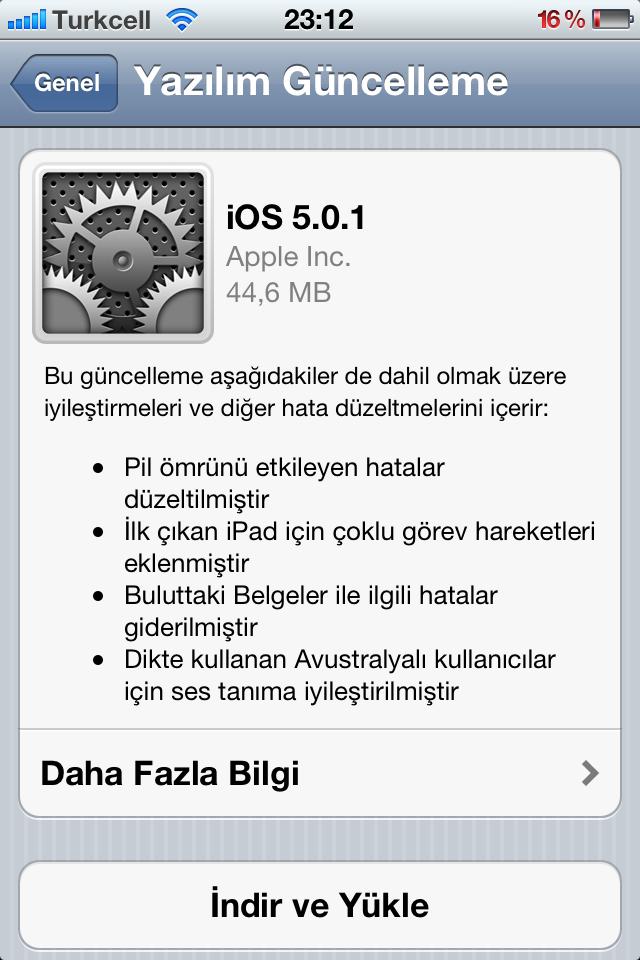 iOS 5.0.1 güncellemesi hafta başında keşfedilen güvenlik açığını da kapatıyor