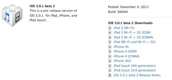 Apple iOS 5.0.1 beta 1 ve beta 2 sürümlerini art arda yayınladı