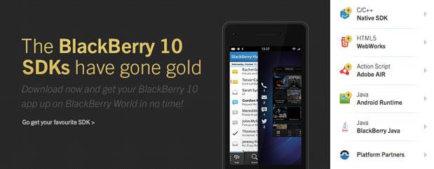 """RIM BlackBerry 10 uygulaması geliştirmek isteyenlere özel SDK araçlarının """"gold"""" sürümünü yayınladı"""