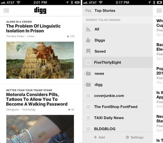 Digg Reader iOS'teki yerini aldı