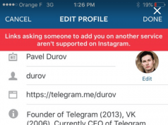 Instagram kullanıcı profillerinde Snapchat ve Telegram bağlantılarına izin vermiyor
