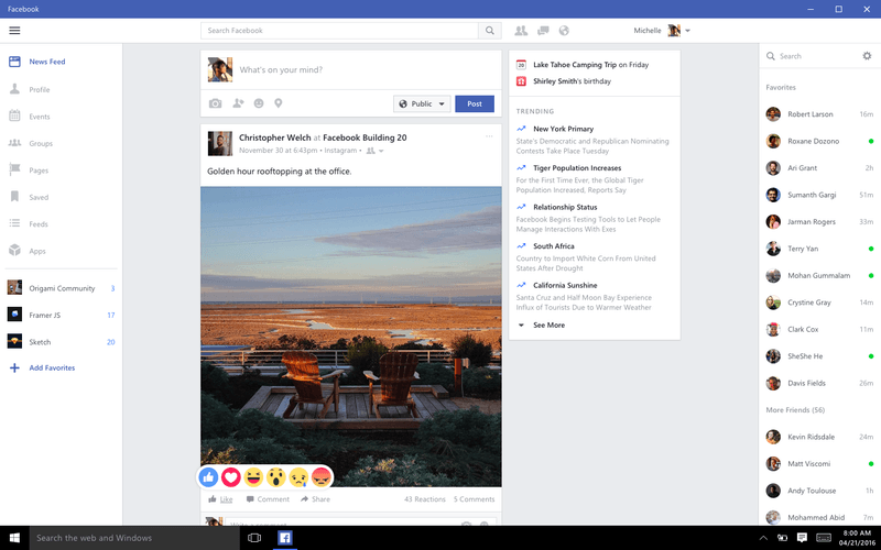 facebook windows 10