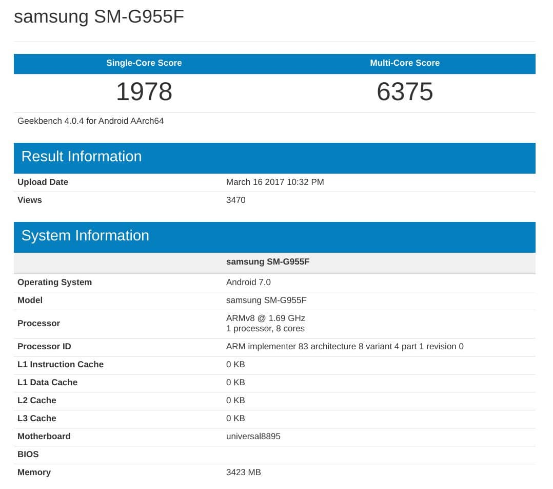 galaxy s8 plus geekbench