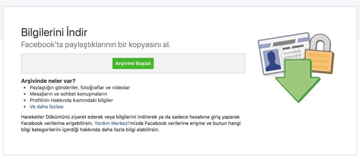 facebook bilgilerini indir